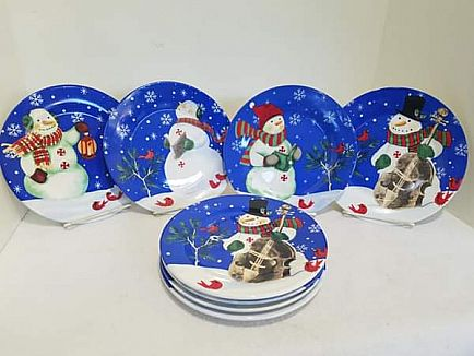 ad set of 8 snowman dessert/salad plates by studio 33