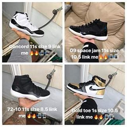 ad concord11s size 9, space jam 11s size 10.5, 72-10 11s size 8.5, gold toe 1s size 10.5