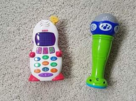 ad fisher price learning phone and leap frog learning microphone
