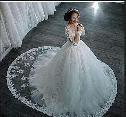 ad romantic lace ball gown wedding dress