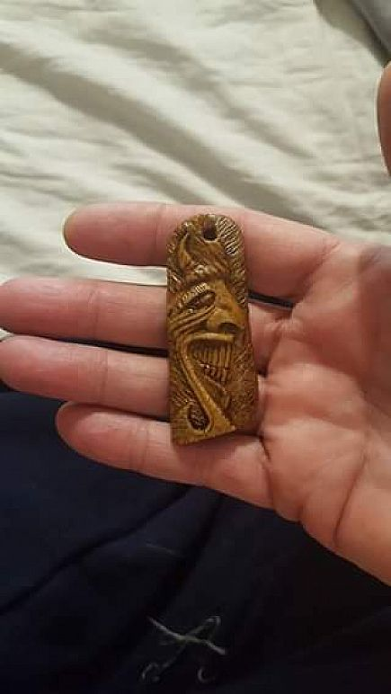 ad hand carved bone devil pendant $35 + $5 shipping