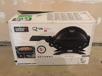 ad new weber q 1200 1-burner portable tabletop propane gas grill in black with built-in thermometer