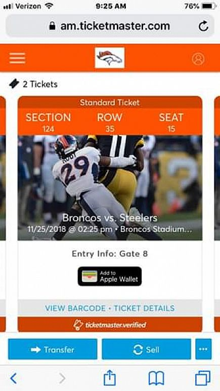ad for sale 2 broncos vs steelers tickets