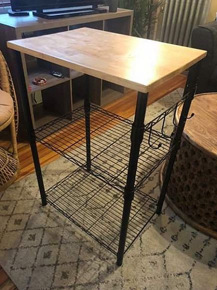 ad small kitchen island/microwave stand with side hooks