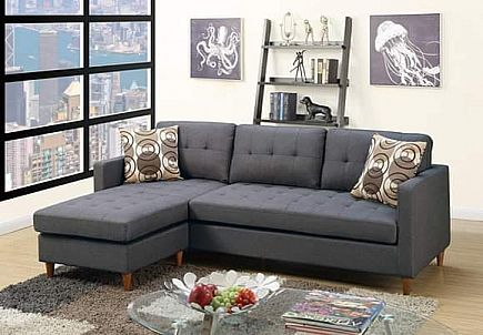 ad sectional sofa blue grey color