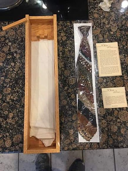 """ad men's tie, long tie made of real feathers. """" white pine """" great c-mass gift for hunters necktie"""