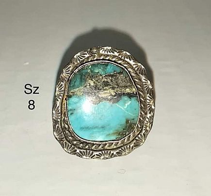 ad turquoise and silver rings made by new mexico pueblos and navajos in early 1970s
