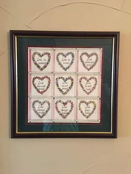 ad home interiors love is patient... framed & matted