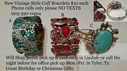 ad elegant rhinestone & faux turquoise cuff bracelets (never used) great gifts *prices on photo