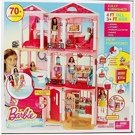 ad barbie dreamhouse playset with 70+ accessory pieces