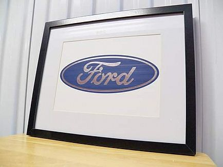ad wooden and glass ford oval logo art print! man cave decor mustang f150 truck muscle car