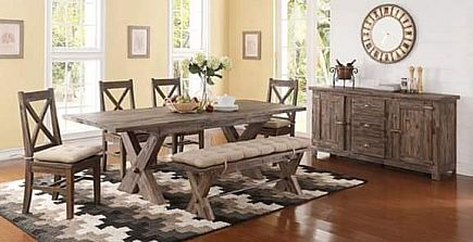 ad rustic reclaimed style dining table set