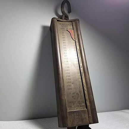 ad vintage hanson hanging scale - the viking - 200 lb capacity
