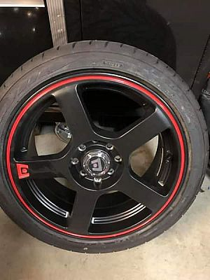 "ad 4 new never been used 16"" tuner wheels and tires"